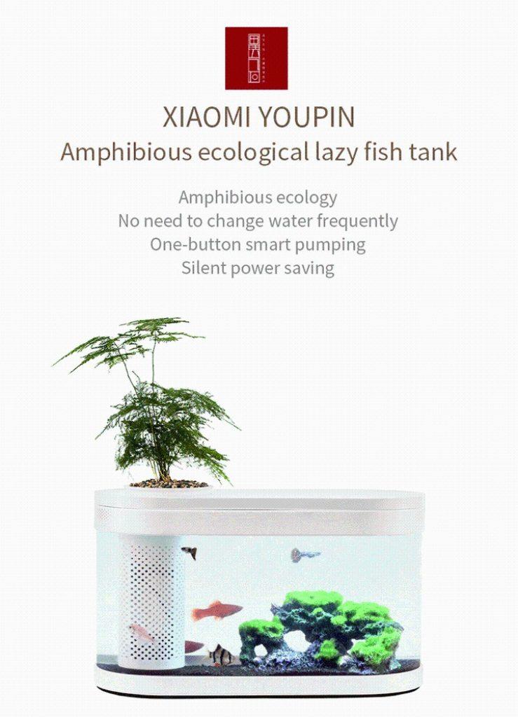 coupon, banggood, XIAOMI Geometry Fish Tank Aquaponics Ecosystem Small Water Garden Ecological Fish Tank Aquarium Transparent Aquarium