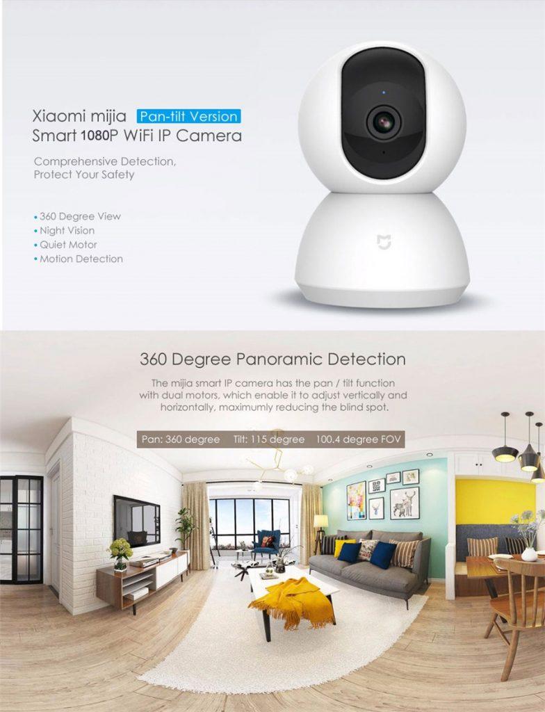 phiếu giảm giá, banggood, XIAOMI MIJIA 360 Độ 1080P Camera quan sát ban đêm IR Phát hiện chuyển động Camera hai chiều Audio Pan Tilt IP