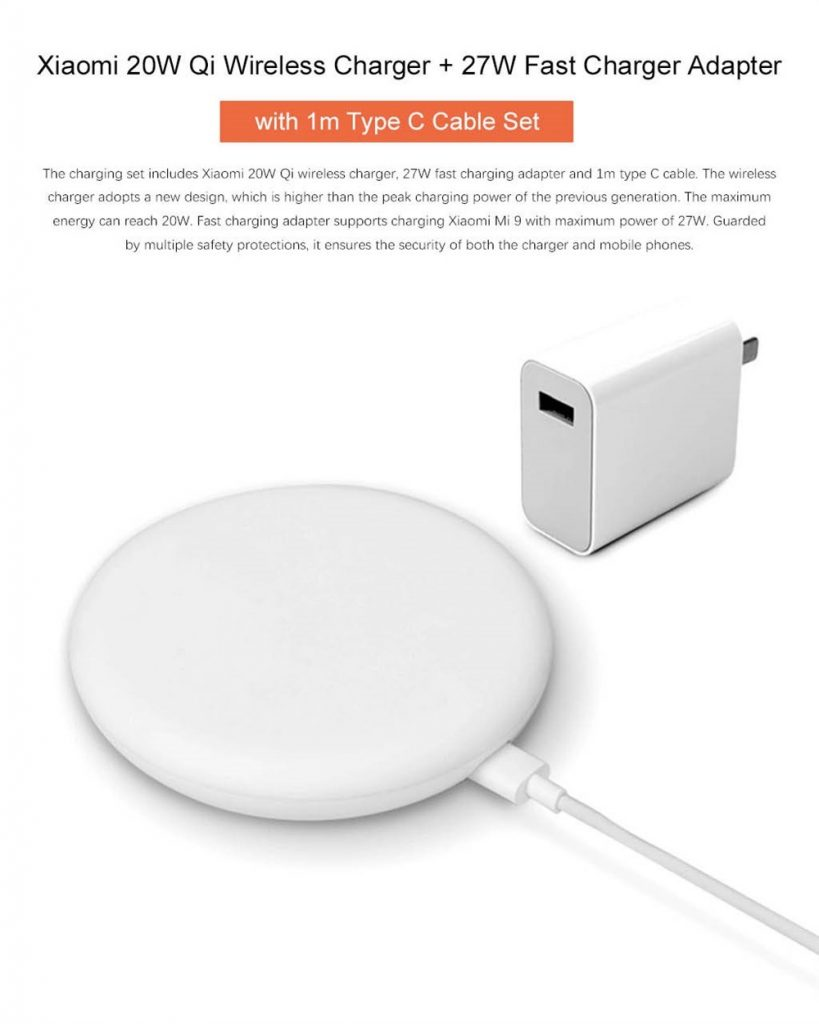 coupon, gearvita, Xiaomi 20W Qi Wireless Charger & 27W Fast Charger Adapter with 1m Type-C Cable Set