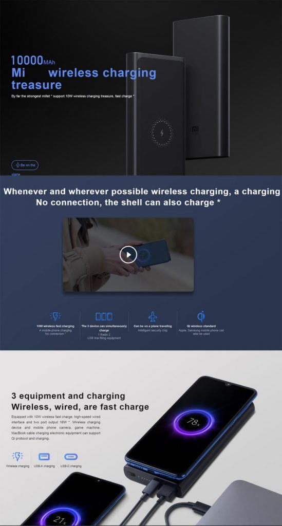 coupon, gearbest, Xiaomi PLM11ZM Wireless Charger Power Bank 10000mAh