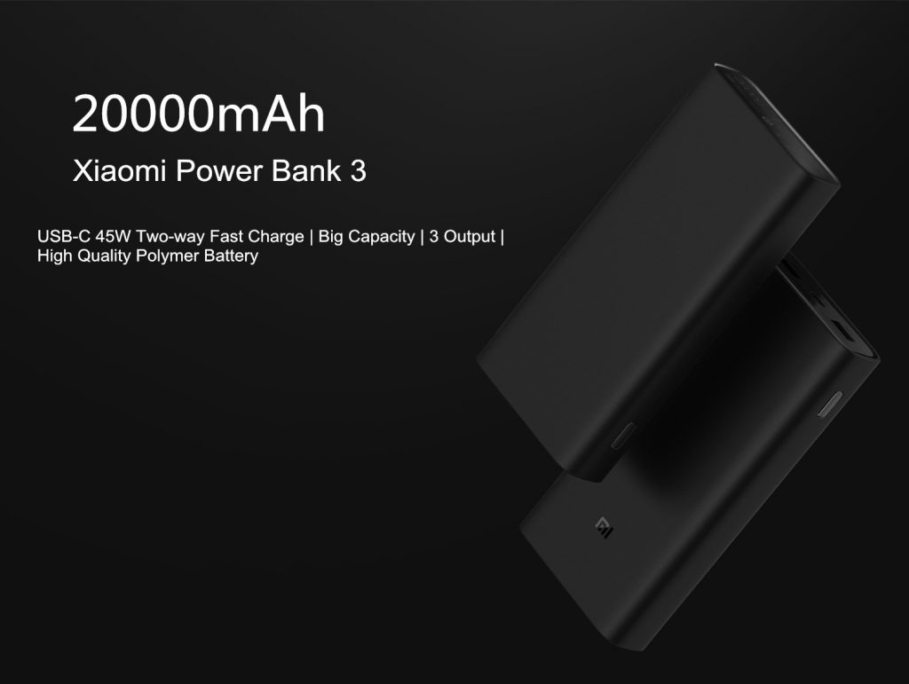 קופון, banggood, Xiaomi Power Bank 3 Pro 20000mAh USB-C דו כיווני 45W QC3.0 מהיר טען כוח עבור טלפון נייד