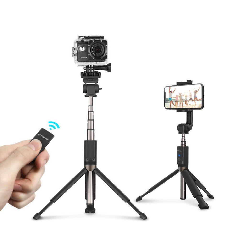 ब्लिट्जवुल्फ़ BW-BS5 स्मार्टफ़ोन स्पोर्ट्स कैमरा के लिए बहु-कोण ब्लूटूथ तिपाई सेल्फी स्टिक विस्तारित - सफेद, कूपन, बैंग्ड