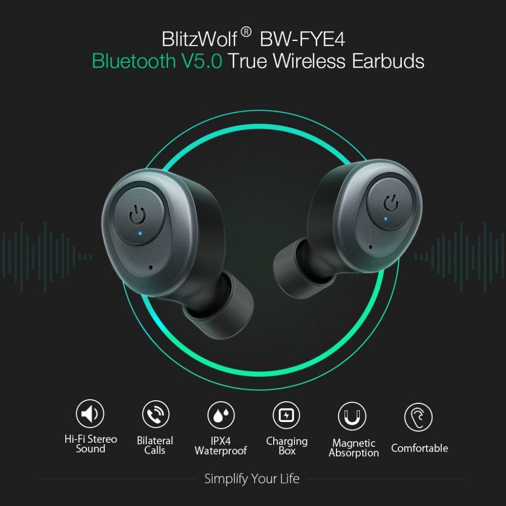 kupón, banggood, Blitzwolf® BW-FYE4 Pravé bezdrátové stereo sluchátko bluetooth 5.0 Mini sluchátka s nabíjecím boxem