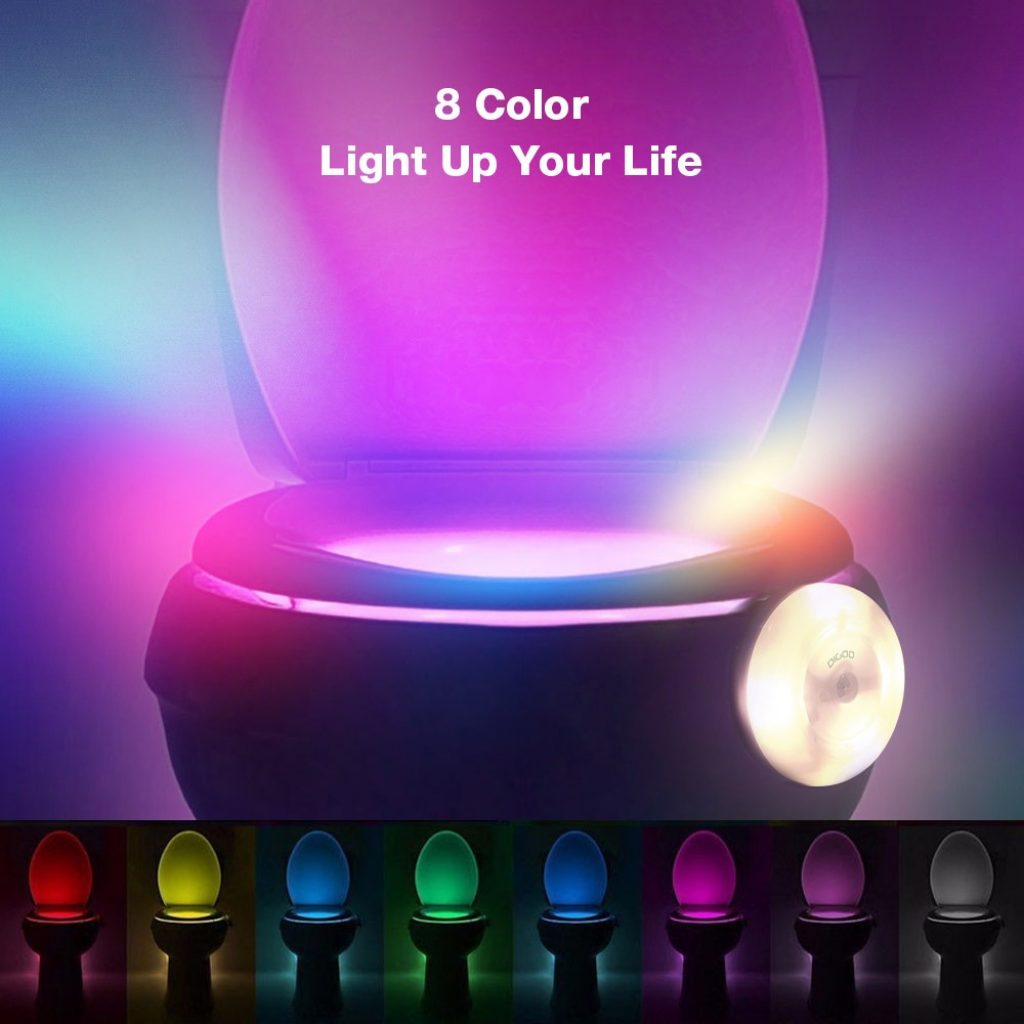 coupon, banggood,Digoo DG-TL280 8-Colors Motion Activated Sensor LED Toilet Night Light PIR Light Detection with Surface Light