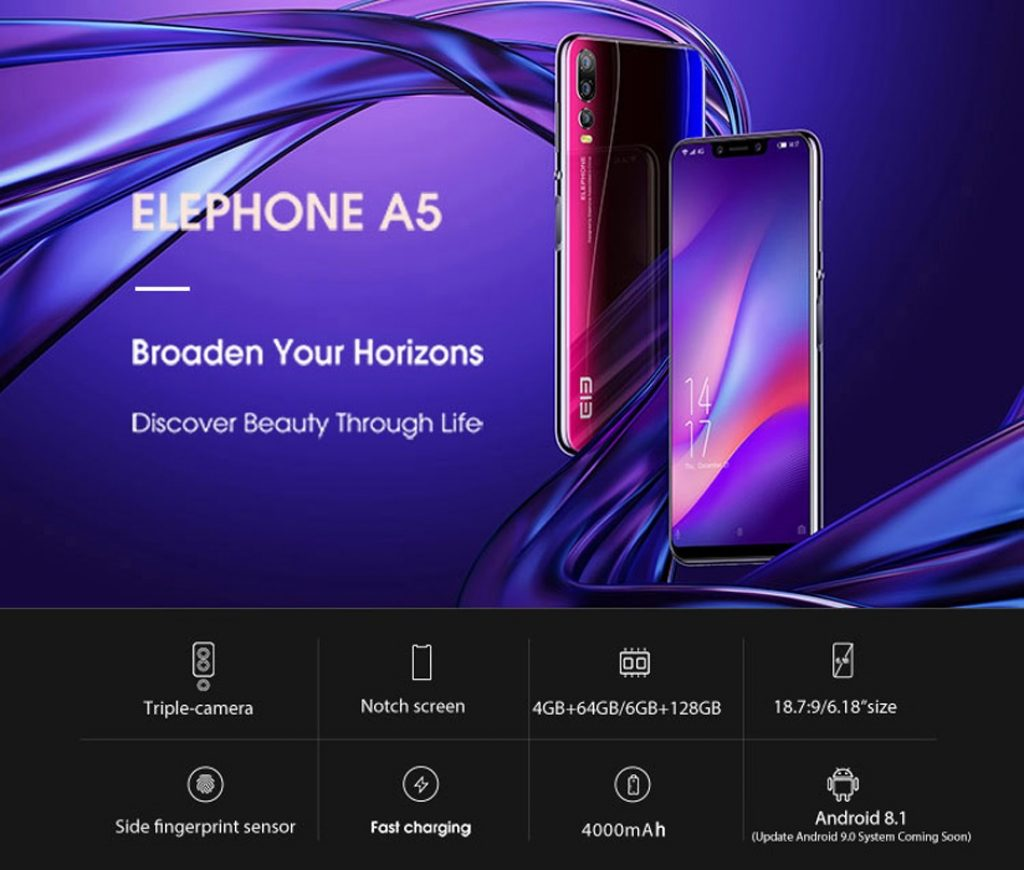 coupon, banggood, Elephone A5 Global Version 6.18 Inch FHD+ 4000mAh Triple Rear Camera 6GB 128GB Helio P60 Smartphone