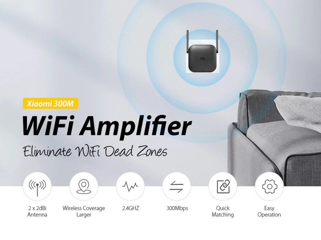 coupon, gearvita, Xiaomi Pro 300M 2.4GHZ WiFi Amplifier with 2 Antenna