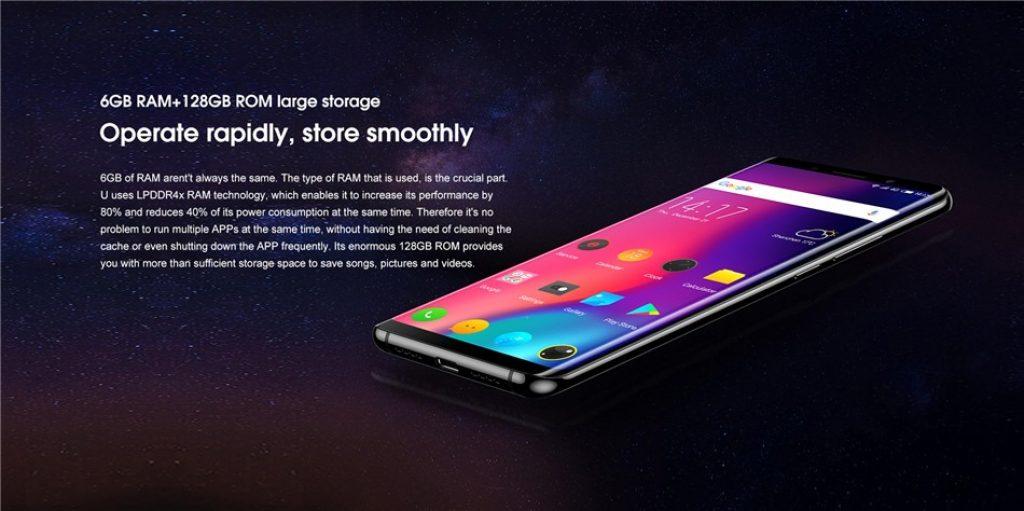 kupón, banggood, Elephone U 5.99 palcový FHD + AMOLED 3620mAh 6GB RAM 128GB ROM MTK6763 2.0GHz Octa Core 4G Smartphone