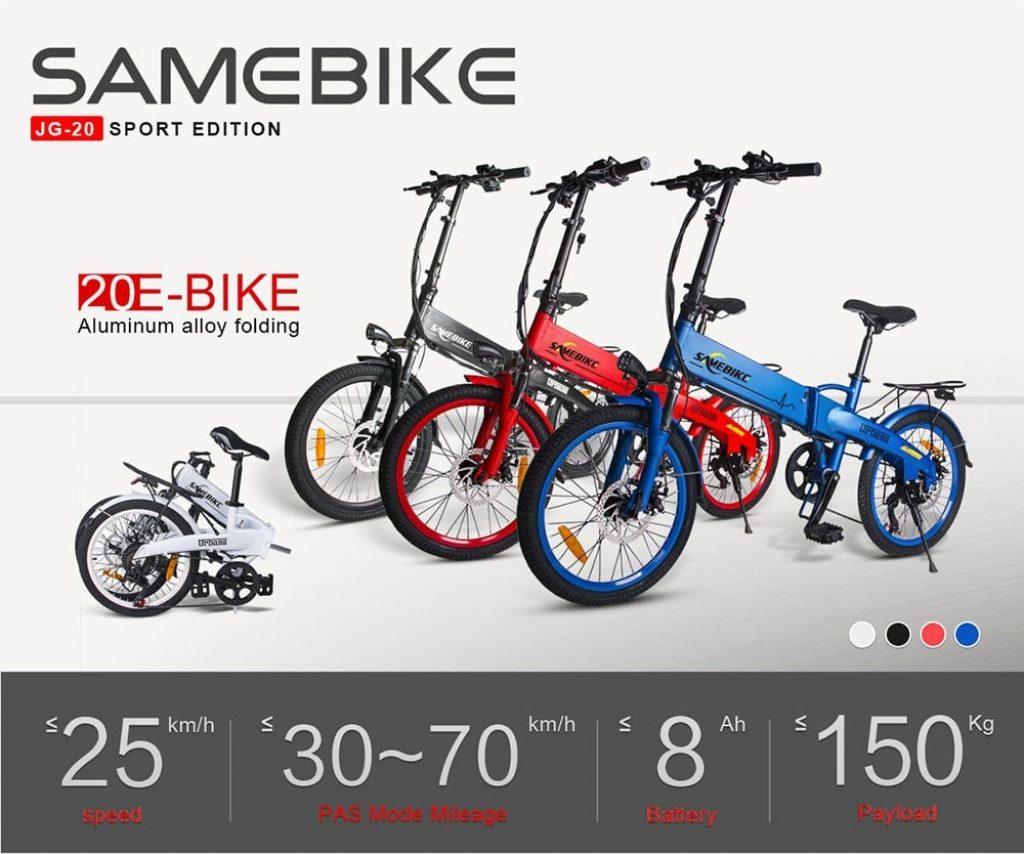 kupong, gearbest, Samebike JG20 Smart Folding Electric Moped Bike Ny stil E-sykkel
