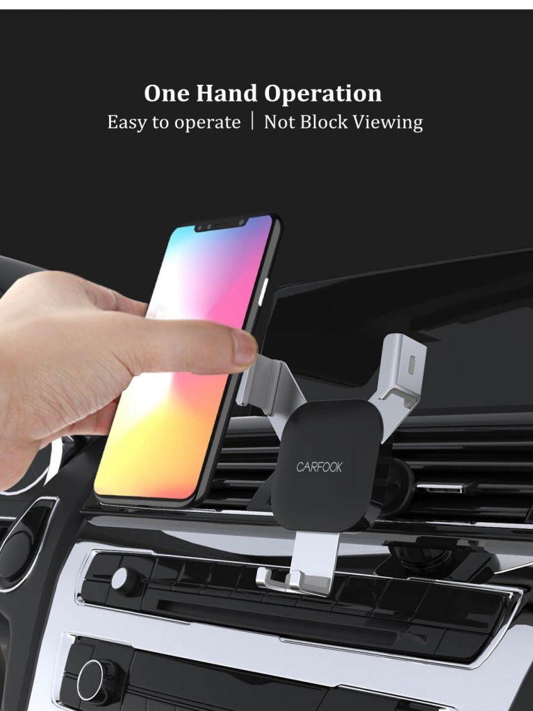 Xiaomi CARFOOK Liaison gravitationnelle Verrouillage automatique 360 ° Support de téléphone de voiture de ventilation de rotation pour le pouce de 4.7 - téléphone intelligent de pouce de 6.5 - argent, COUPON, BANGGOOD