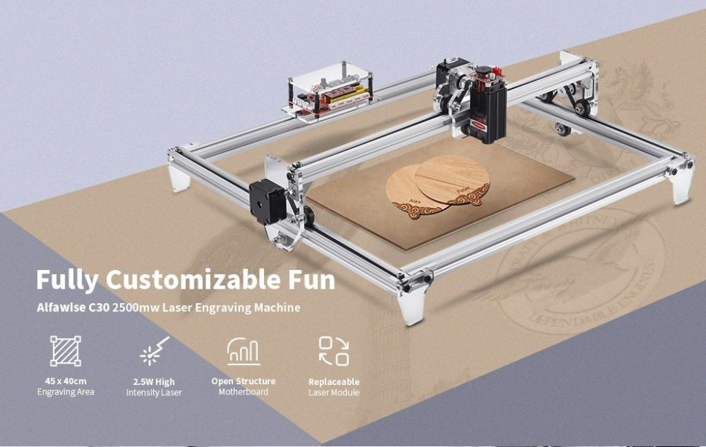 coupon, gearbest, Alfawise C30 2500mw Large Area Frame Laser Engraving Machine