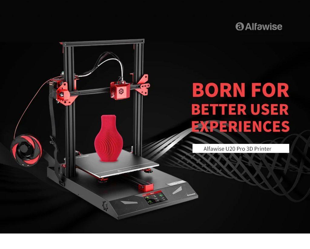 κουπόνι, κιβώτιο ταχυτήτων, Alfawise U20 Pro Αυτόματη οριζόντια διαμόρφωση Creative FDM 3D Printer