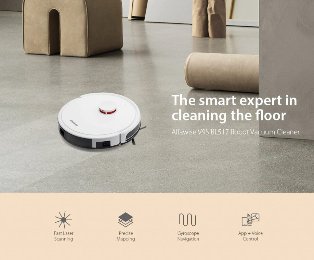 coupon, gearbest, Alfawise V9S BL517 Robot Vacuum Cleaner