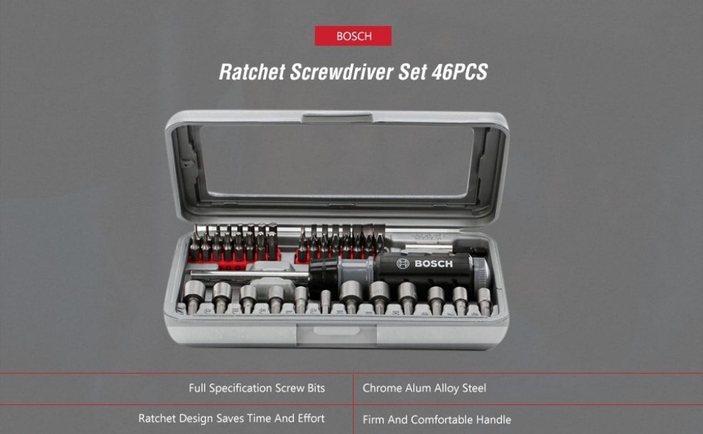 coupon, gearbest, BOSCH 46 in 1 Ratchet Screwdriver Bit Set Extension Rod