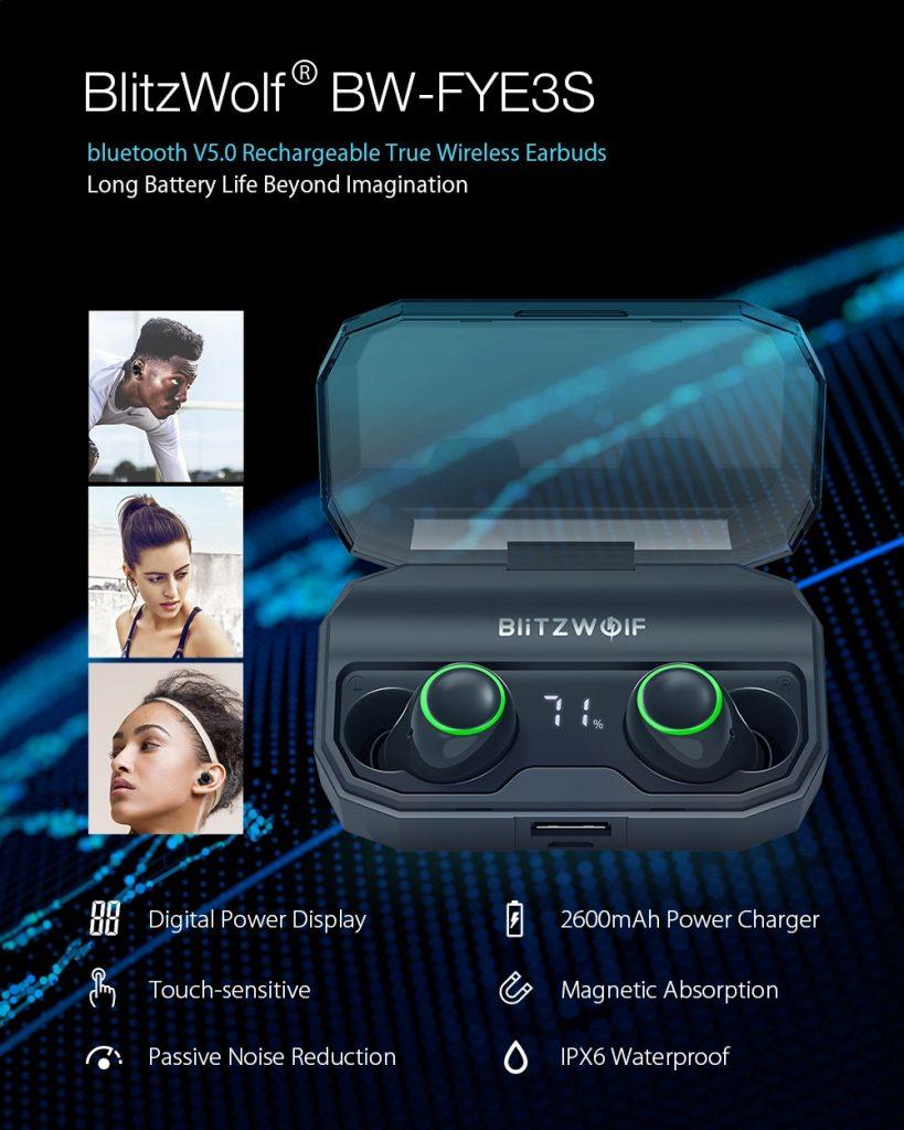 kupon, banggood, BlitzWolf® BW-FYE3S Bluetooth Nirkabel Sejati 5.0 Earphone