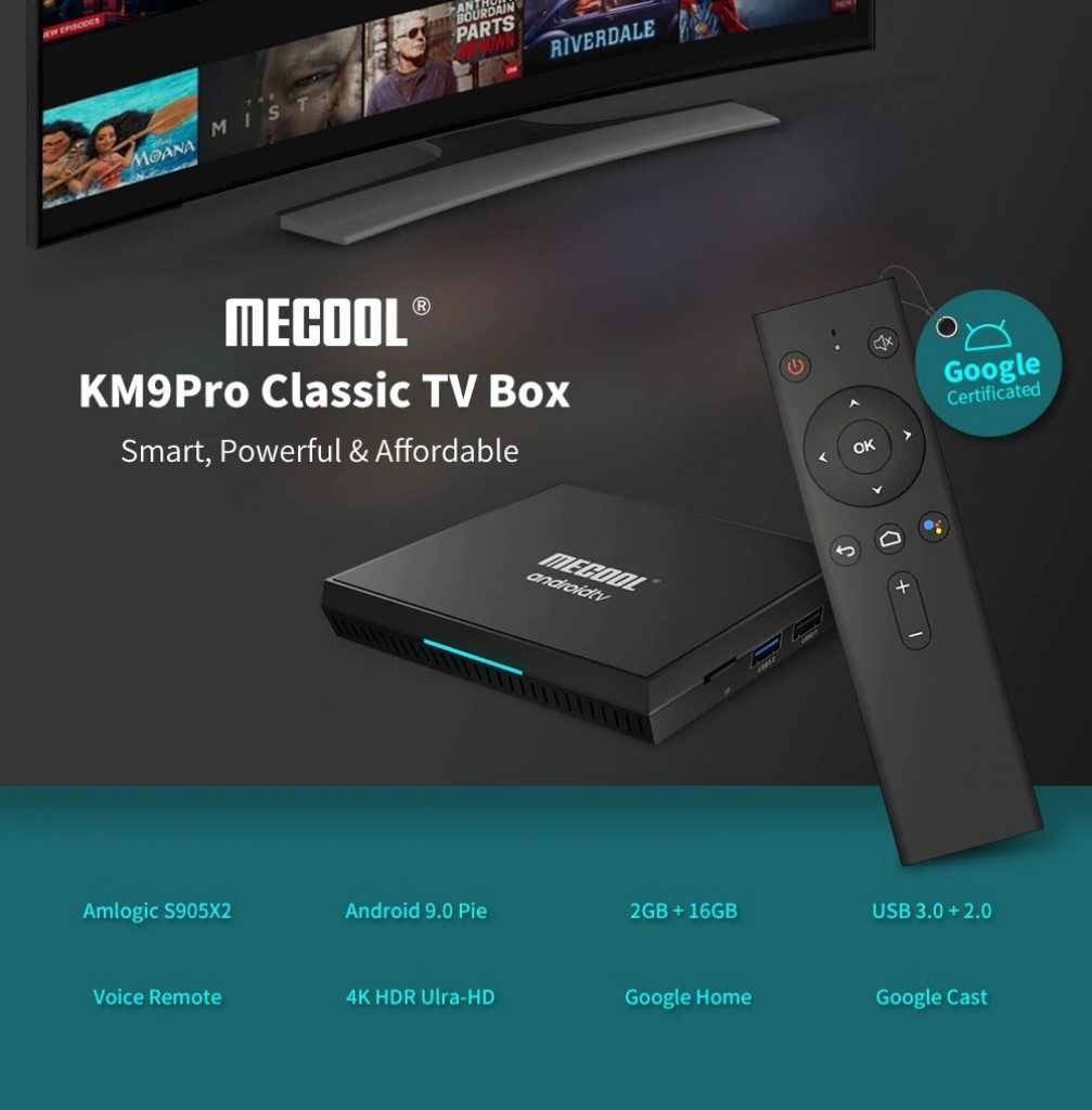 coupon, gearbest, MECOOL KM9 Pro Classic Google Certificated Voice Control Android TV Box