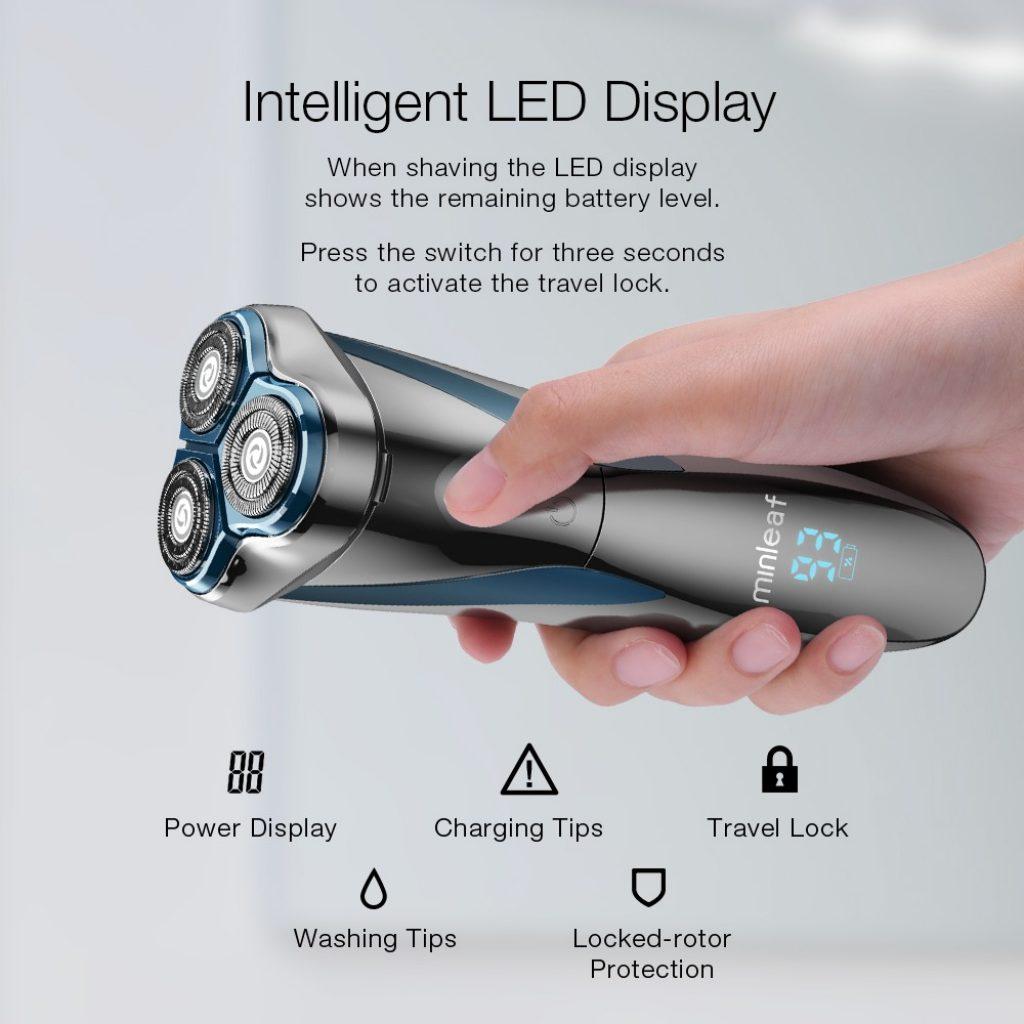 Phiếu giảm giá, banggood, Màn hình LCD Minleaf ML-ES1 Màn hình IPX7 Chống nước Loại-C có thể sạc lại khô Dao cạo râu cạo râu cạo râu khô