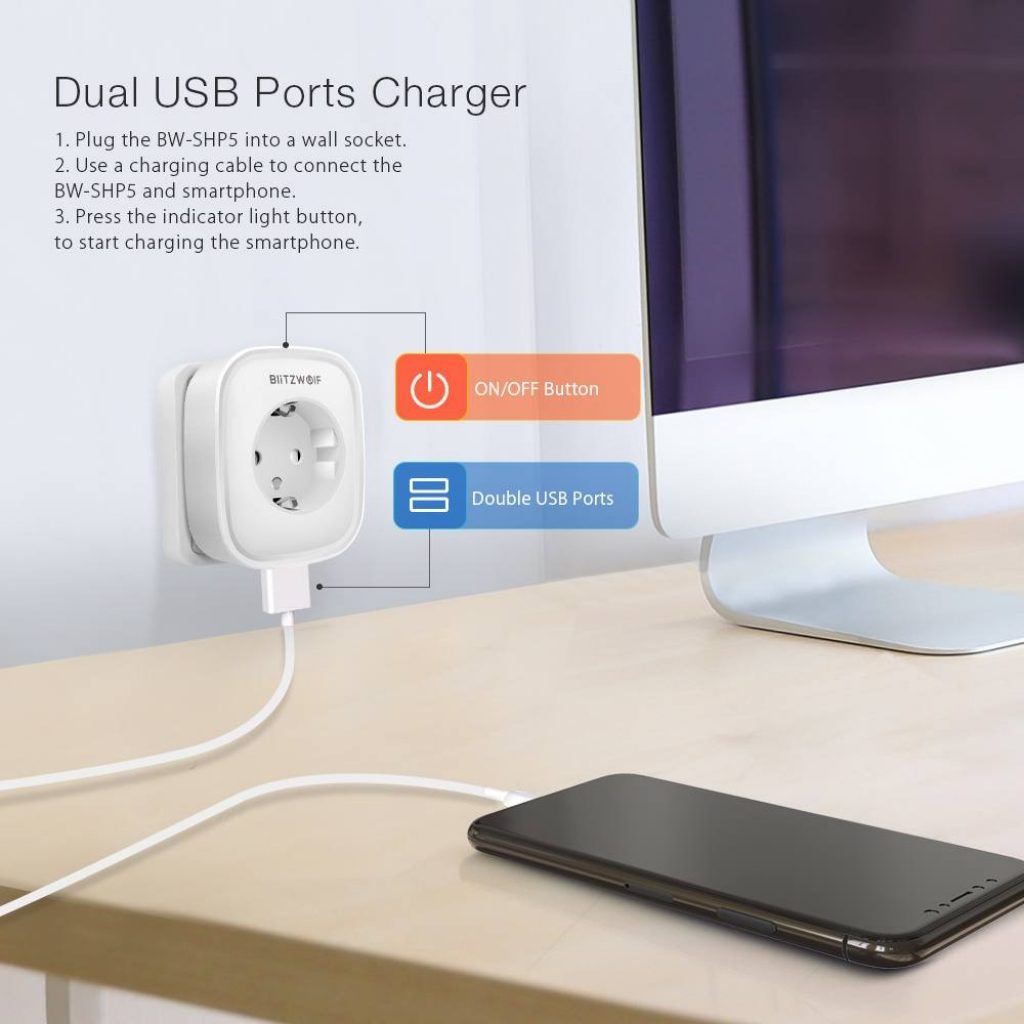 coupon, banggood, BlitzWolf® BW-SHP5 2.1A Dual USB Ports 16A Smart WIFI Socket