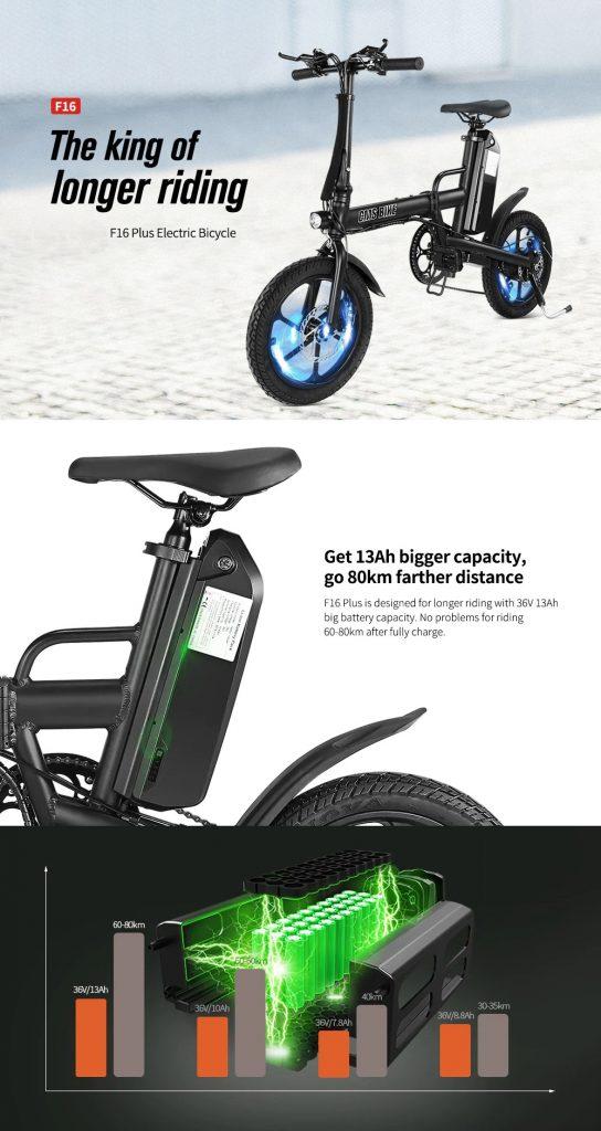 kupon, banggood, CMSBIKE F16-PLUS 13Ah 250W crni 16 inča preklopni električni bicikl