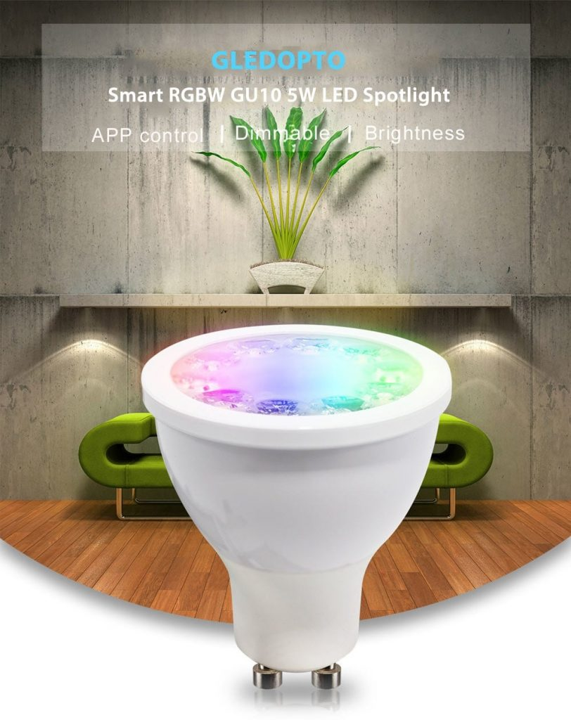coupon, banggood,GLEDOPTO GL-S-007Z AC100-240V ZIG.BEE ZLL RGBCCT GU10 5W LED Spotlight Bulb Work with Amazon Echo