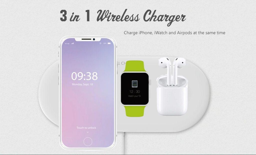 Phiếu giảm giá, gearbest, OJD - Bộ sạc không dây 48 cho iPhone iWatch Airpods