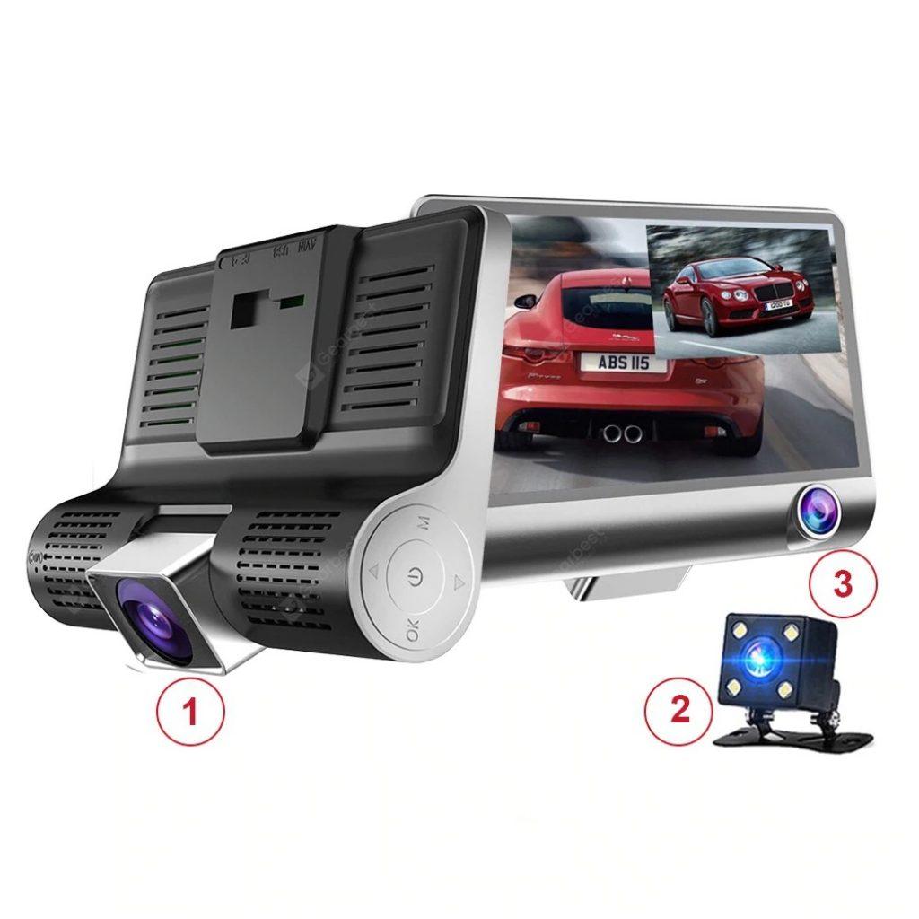 Phiếu giảm giá, gearbest, Máy ảnh Tecney 3 Ống kính kép 4.0 inch Với Camera chiếu hậu Máy quay video Xe DVR Dash Cam