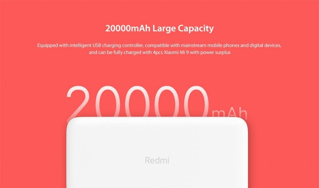 kupon, gearbest, Xiaomi PB200LZM Redmi Power Bank 20000mAh Fast Charge Version