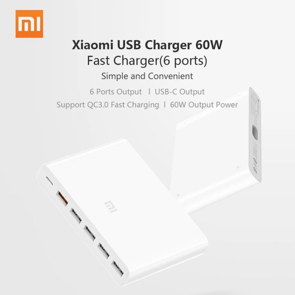 €28 with coupon for Xiaomi USB-C 60W Charger Type-C & USB-A 6 ...