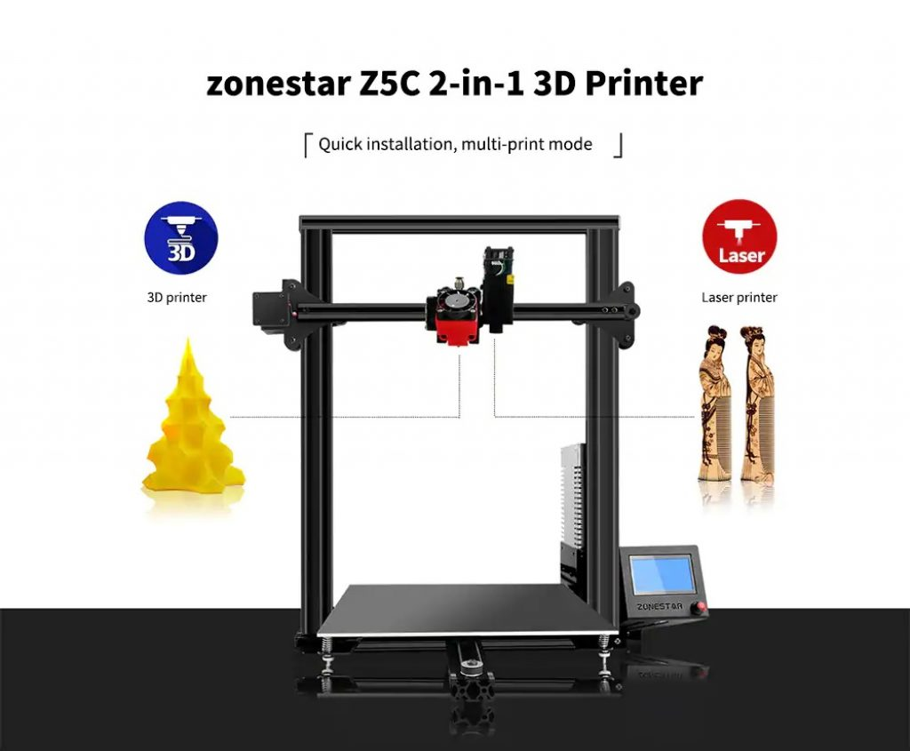 coupon, gearbest, zonestar Z5C 2-in-1 Laser Engraving Machine 3D Printer