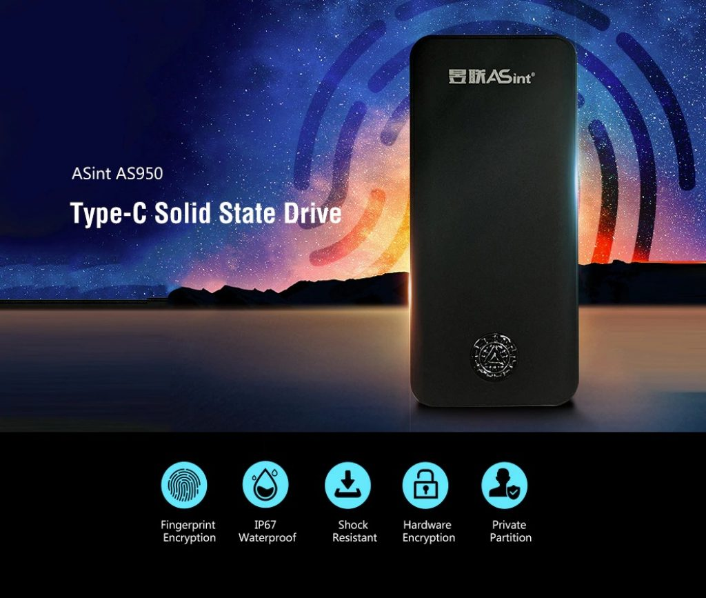 coupon, gearbest, ASint AS950 Type-C Fingerprint Double Encryption Solid State Drive