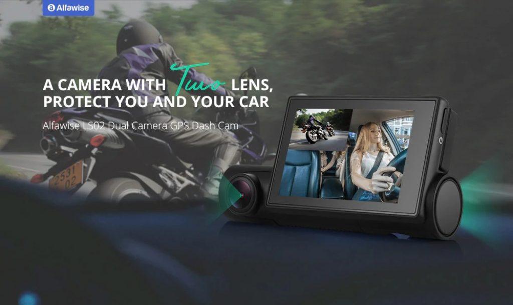 kupon, gearbest, Alfawise LS02 1080P Dual Kamera WiFi Mobil DVR Dash Cam dengan GPS Supercapacitors Sony Night Vision