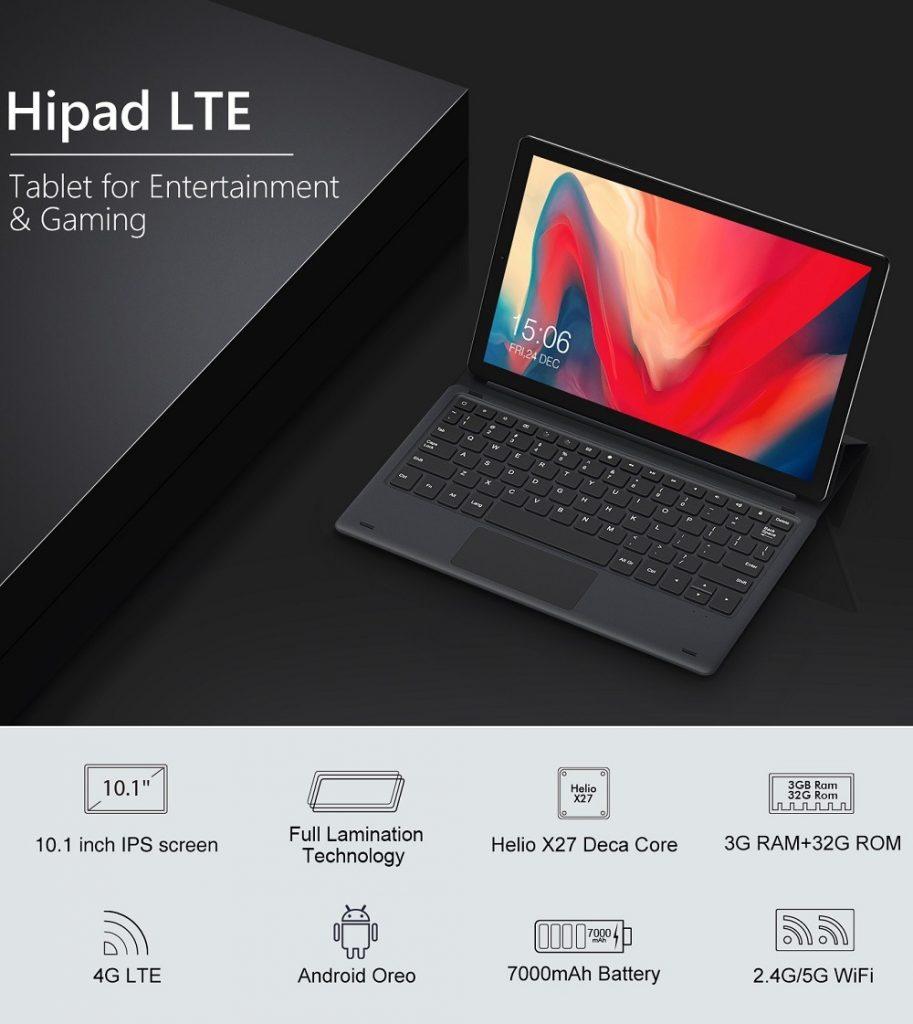 קופון, banggood, CHUWI HiPad LTE 32GB MT6797X Helio X27 Deca Core 10.1 אינץ אנדרואיד 8.0 Tablet 4G כפול עם מקלדת