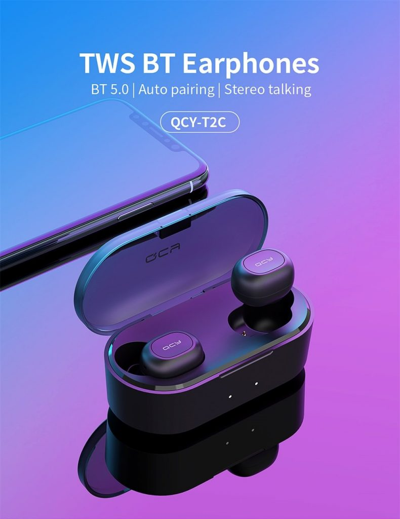 coupon, gearvita, QCY T2C(T1S) Mini TWS Wireless Earphones Bluetooth 5.0