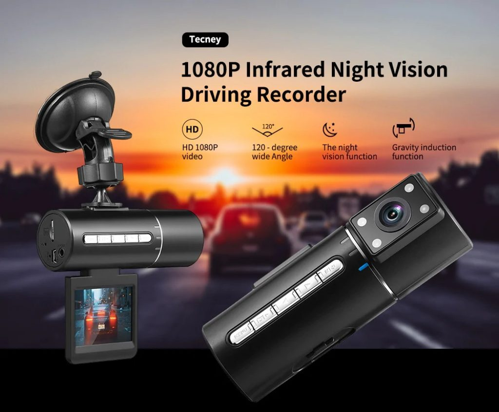 kupon, gearbest, Tecney N2 1080P Infrared Night Vision Driving Recorder