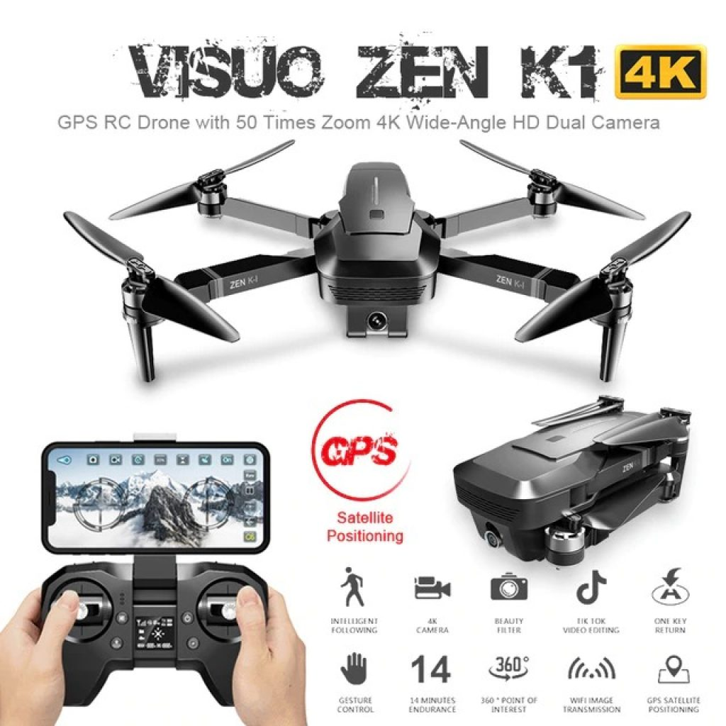 coupon, banggood, VISUO ZEN K1 5G WIFI FPV GPS With 4K HD Dual Camera Brushless Foldable RC Drone Quadcopter