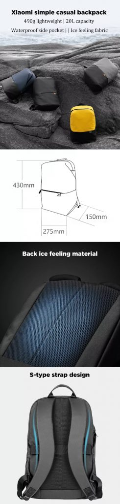coupon, banggood, Xiaomi 20L Backpack Waterproof Lightweight 15.6inch Laptop Bag