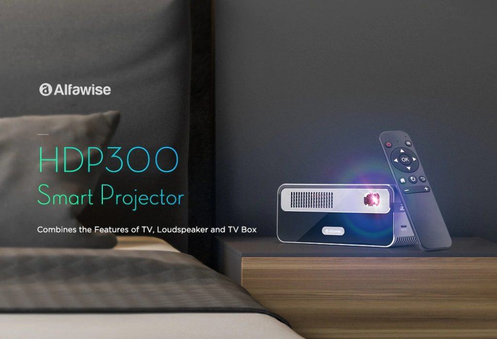 coupon, gearbest, Alfawise HDP300 DLP 1080P 300 ANSI Lumens Smart Mini Projector Portable Home Cinema with 7000mAh Battery Hi-Fi Stereo Speaker Bluetooth
