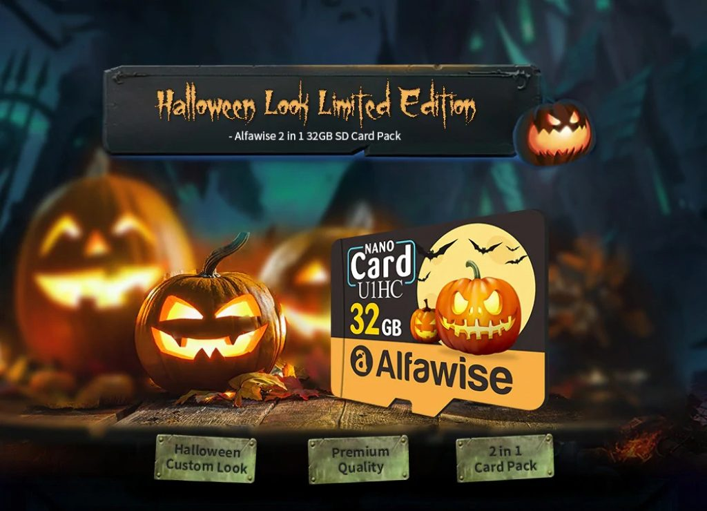 coupon, gearbest, Alfawise Limited Edition Halloween High Speed 2 In 1 32GB Micro SD Card