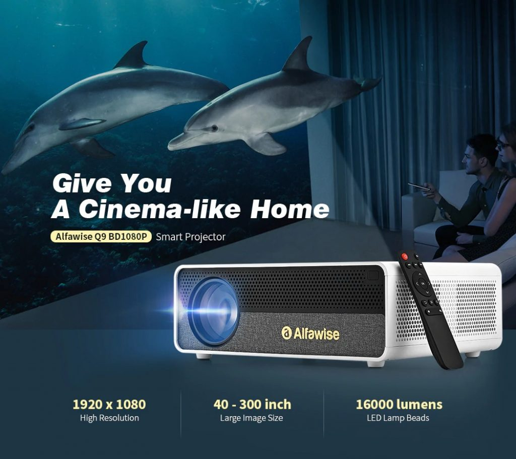 coupon, gearbest, Alfawise Q9 BD1080P 40-300 inch Mirroring Screen 4K Smart Projector