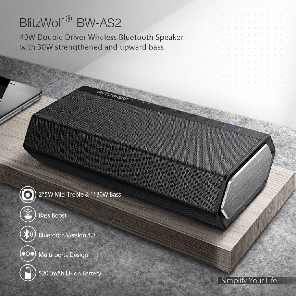 kupon, banggood, BlitzWolf® BW-AS2 40W 5200mAh Driver Ganda Bluetooth Speaker Nirkabel 30W Diperkuat ke Atas Bass Bass Hands-Free Aux-in Speaker