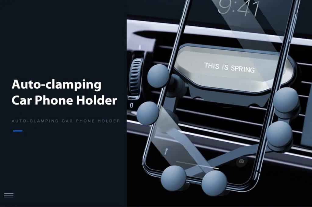 쿠폰, gearbest, Gocomma 자동 클램핑 카 중력 전화 홀더