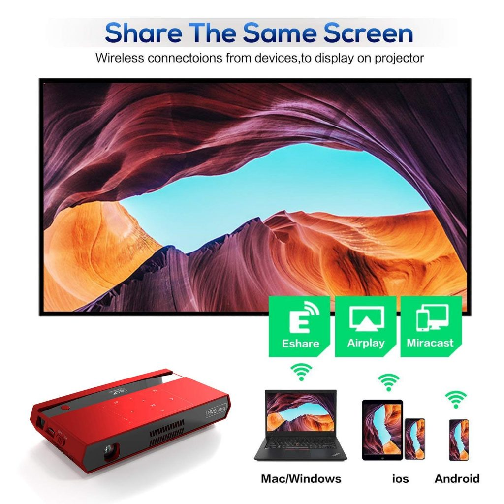 Phiếu giảm giá, banggood, Máy chiếu H96 Max DLP 2G + 16G Android 150ANSI với loa bluetooth Máy chiếu tại nhà