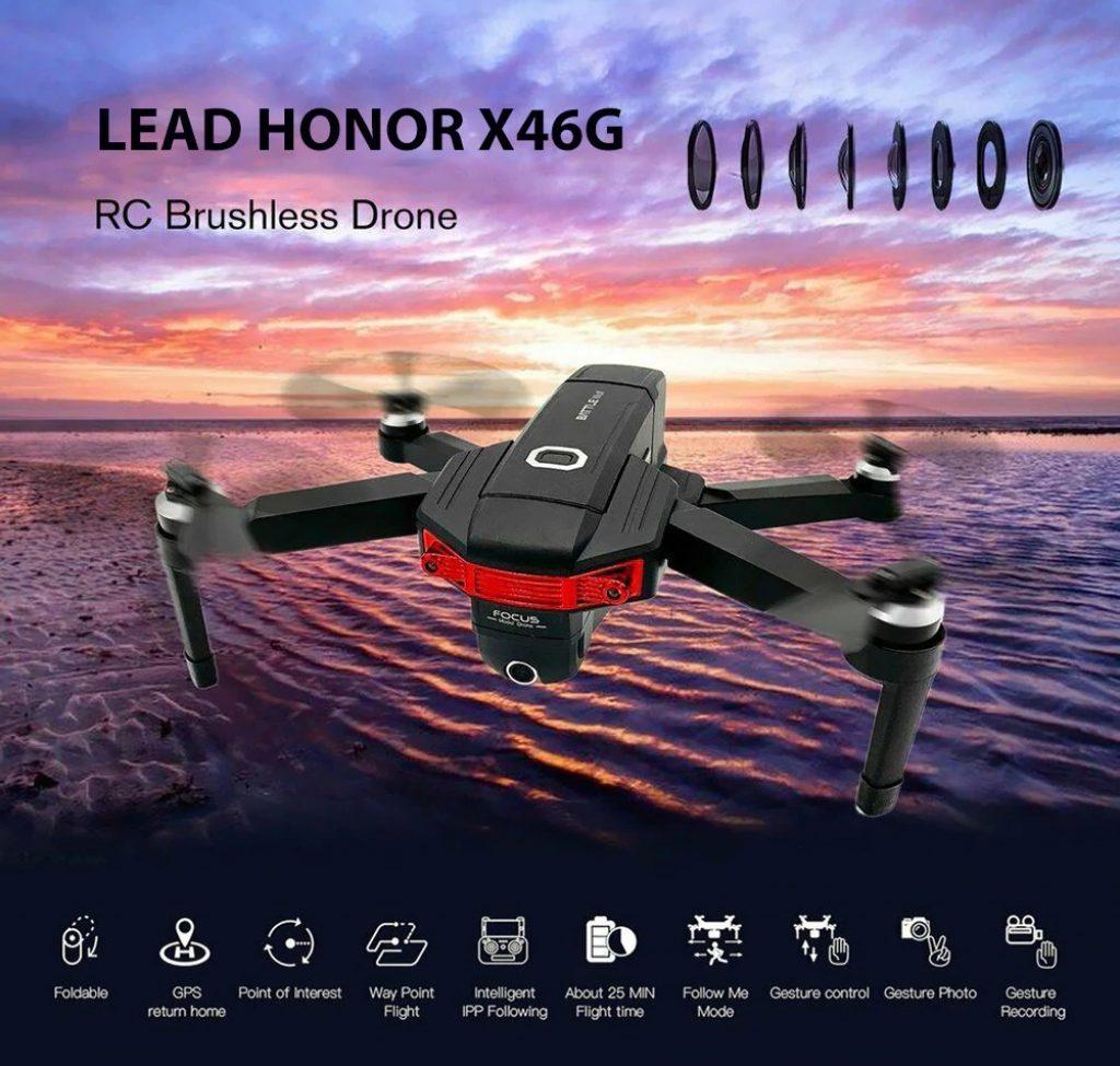 phiếu giảm giá, gearbest, LEAD HONOR X46G GPS 5G WiFi FPV với máy ảnh kép 4K Brushless RC Drone