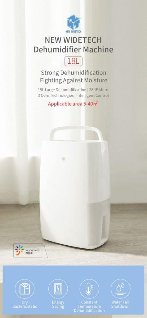 cupom, banggood, NOVA WIDETECH WDH318EFW1 18L 240W máquina de desumidificador Mijia APP Linkage Desumidificador multifuncional desumidificador desumidificador de Xiaomi Youpin