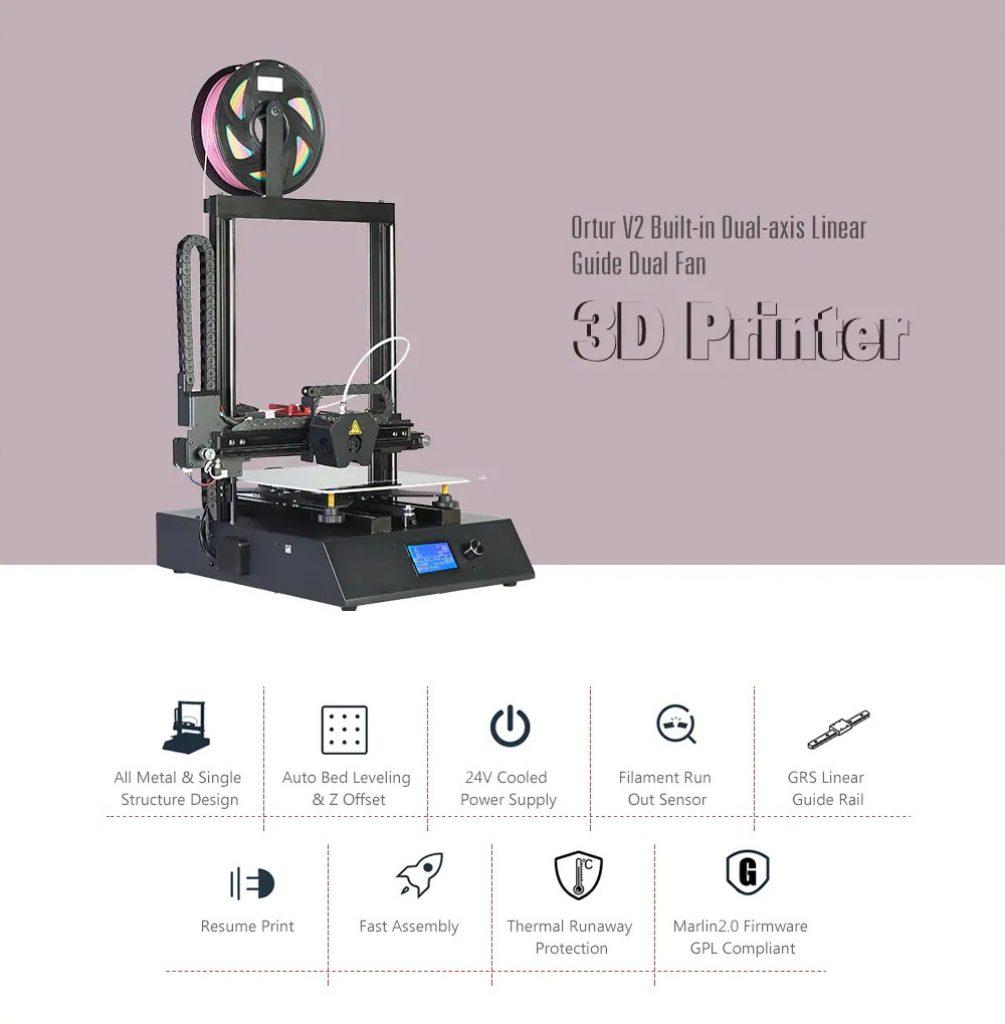 kupong, girbest, Ortur Ortur 4 V2 GRS Linear Guide Rail High Speed Open Source Heavy Duty 3D Printer
