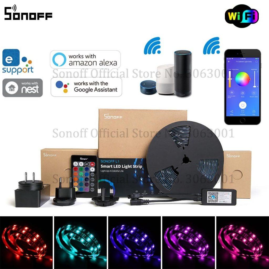קופון, בנגדו, SONOFF L1 ניתן לעמעום IP65 2M 5M WiFi WiFi RGB LED רצועת אור ערכת עבודה עם אמזון Alexa גוגל בית