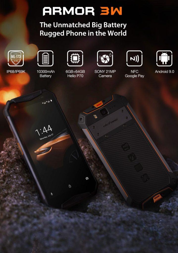 kupong, banggood, Ulefone Armor 3W 5.7 Inch NFC IP68 IP69K Vanntett 6GB 64GB 10300mAh Helio P70 Octa core 4G Smartphone