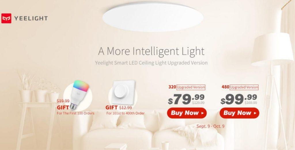 Phiếu giảm giá, gearbest, Yeelight YLXD42YL Đèn LED trần thông minh Hỗ trợ HomeKit Siri Phiên bản nâng cấp (Sản phẩm hệ sinh thái Xiaomi)