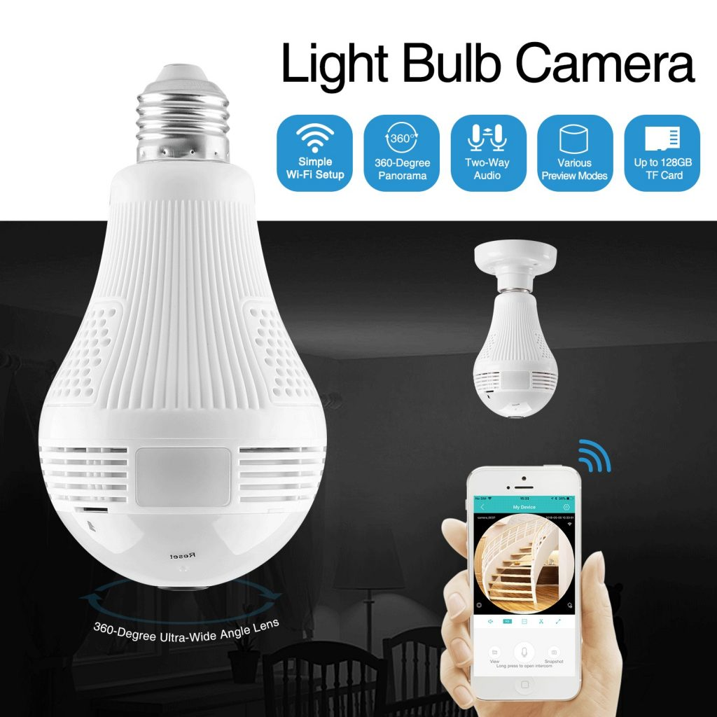 coupon, banggood, 360 ° 960P Smart Camera Wireless Ampoule LED FishEye CCTV Sécurité panoramique 1.3MP pour la maison AC100-240V