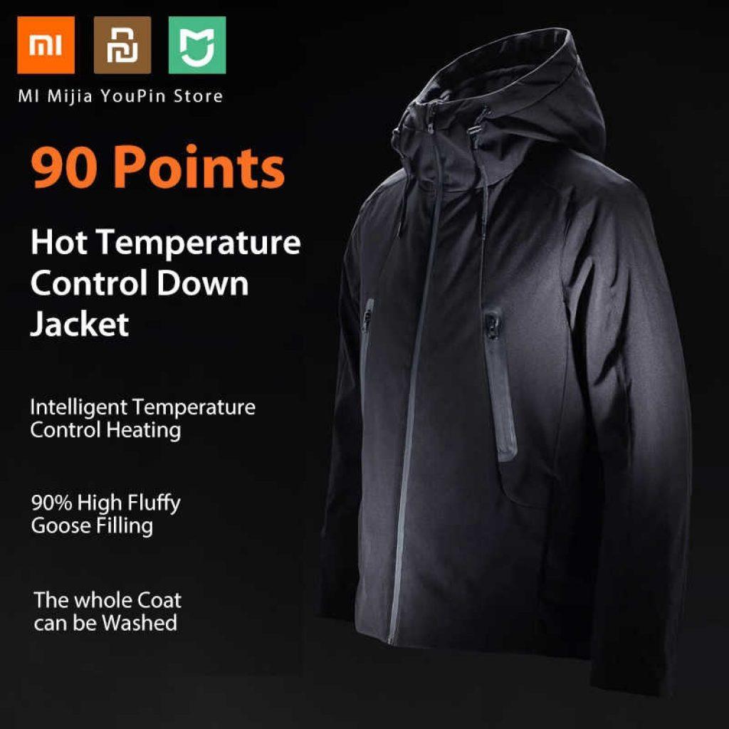 Kupon, banggood, 90 EĞLENCE Akıllı Aşağı Ceket Xiaomi Youpin Gelen Otomatik Isıtma Su Geçirmez Kaz Tüyü +