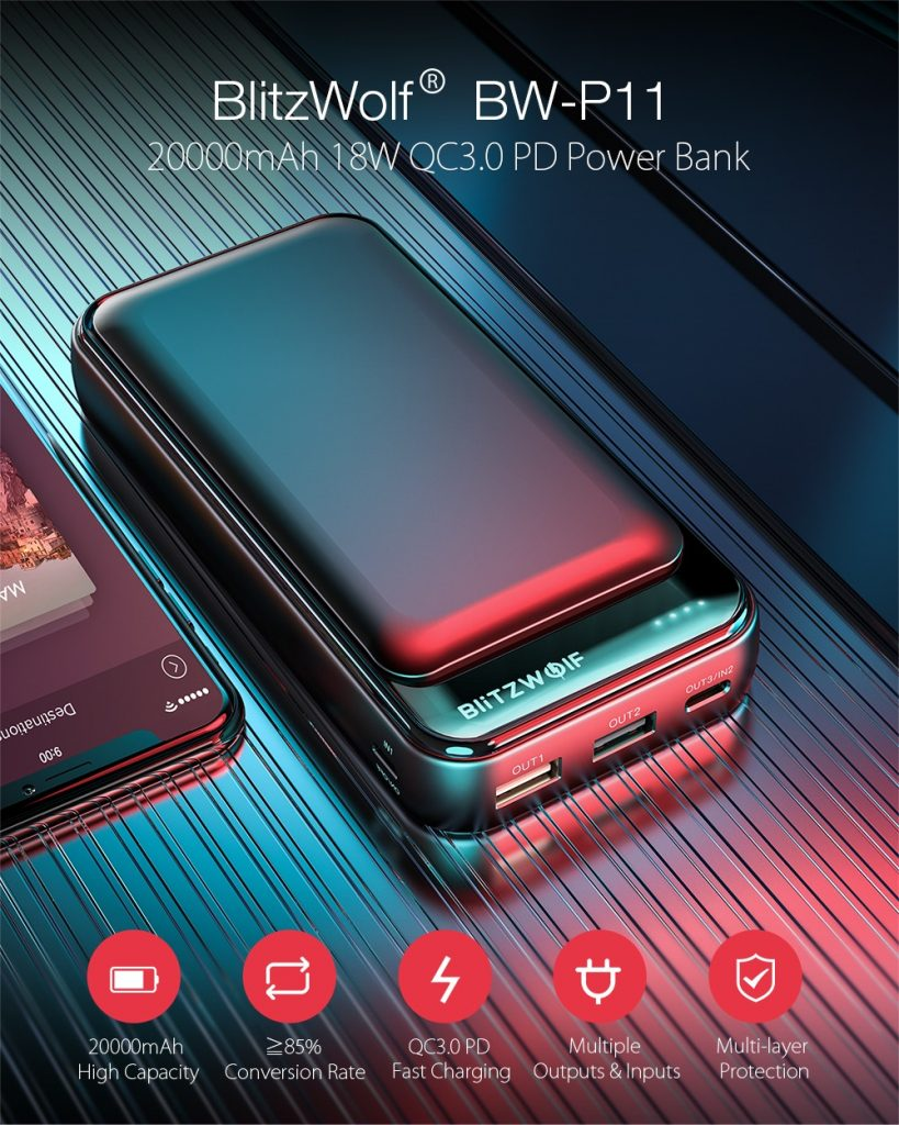 कूपन, बैंगवुड, ब्लिट्जवॉल्फ® BW-P11 20000mAh 18W QC3.0 PD पावर बैंक
